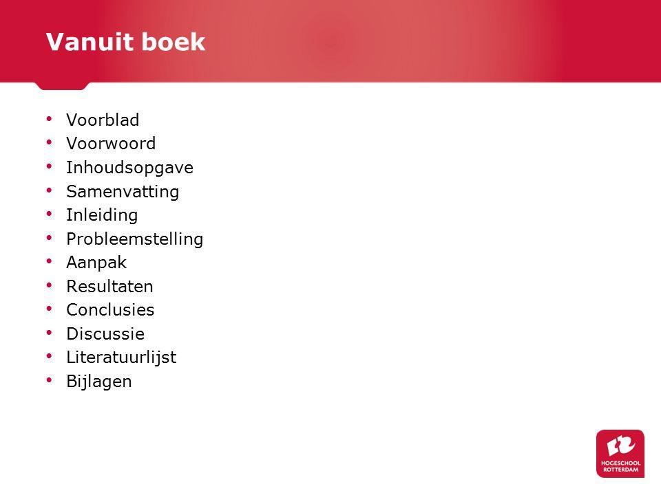 Vanuit boek Voorblad Voorwoord Inhoudsopgave Samenvatting Inleiding