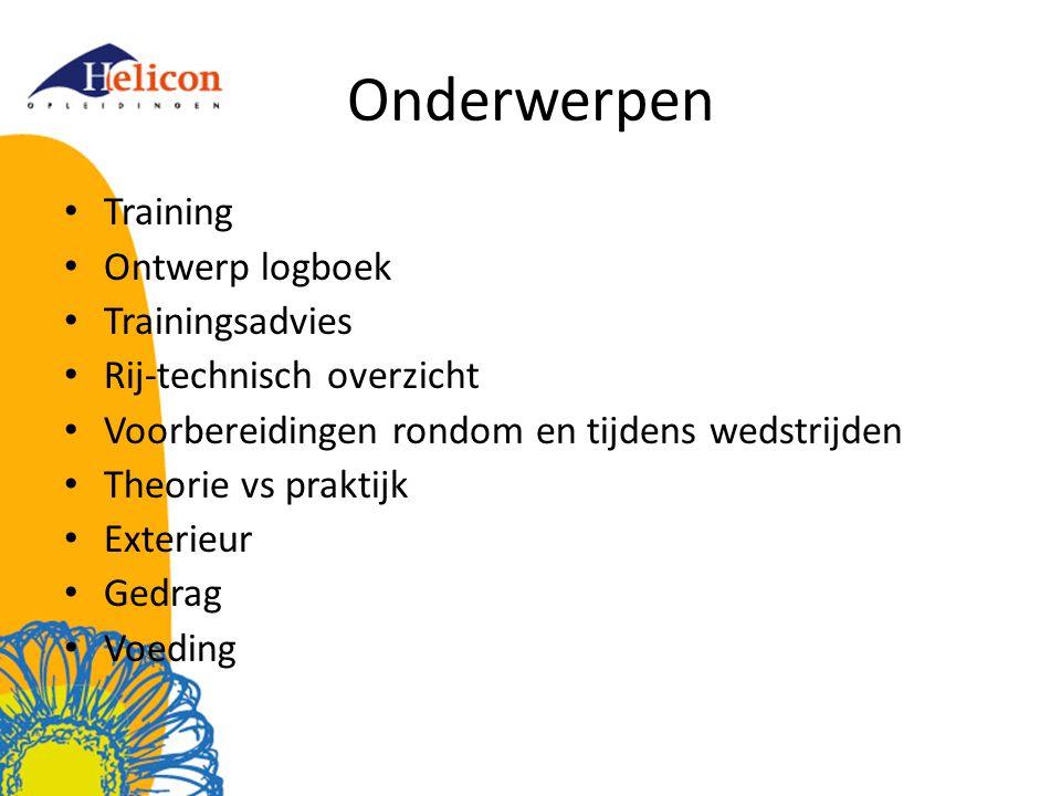Onderwerpen Training Ontwerp logboek Trainingsadvies