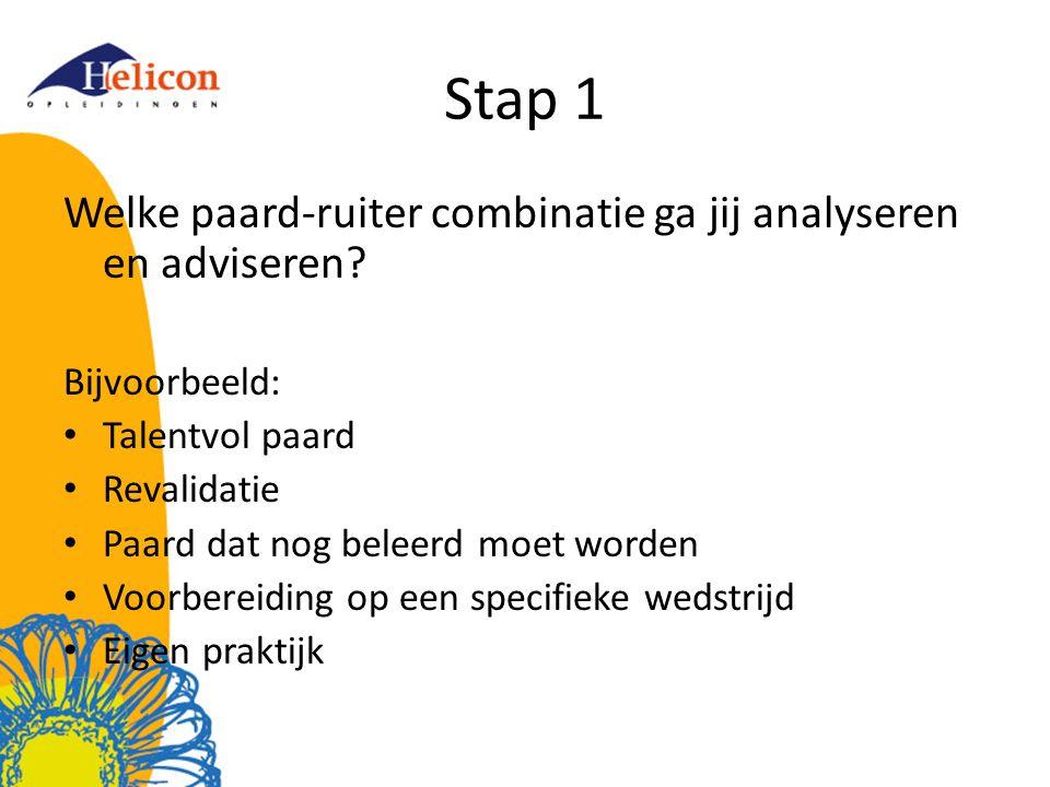 Stap 1 Welke paard-ruiter combinatie ga jij analyseren en adviseren
