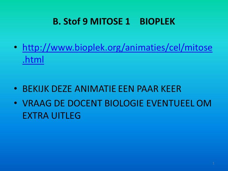 B. Stof 9 MITOSE 1 BIOPLEK http://www.bioplek.org/animaties/cel/mitose.html. BEKIJK DEZE ANIMATIE EEN PAAR KEER.