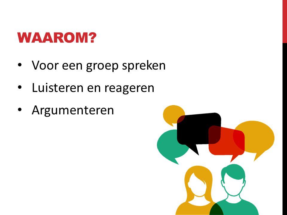 WAAROM Voor een groep spreken Luisteren en reageren Argumenteren