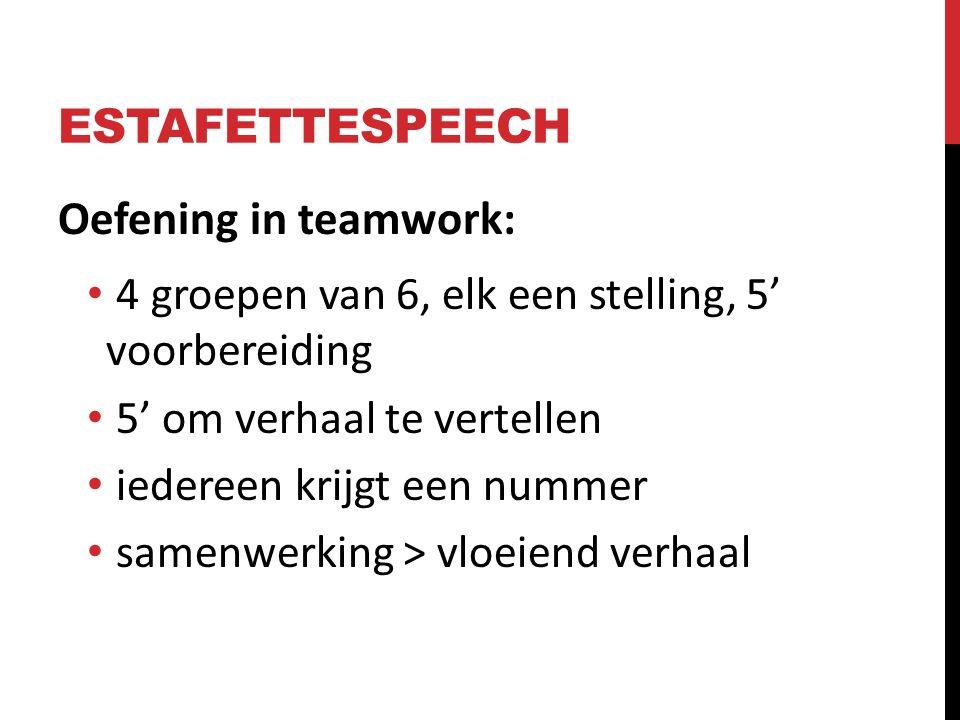 ESTAFETTESPEECH Oefening in teamwork:
