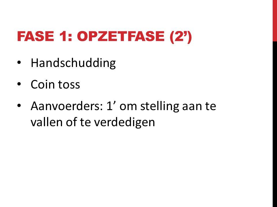 Fase 1: opzetfase (2') Handschudding Coin toss