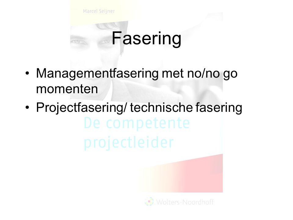 Fasering Managementfasering met no/no go momenten