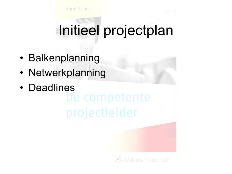 Initieel projectplan Balkenplanning Netwerkplanning Deadlines