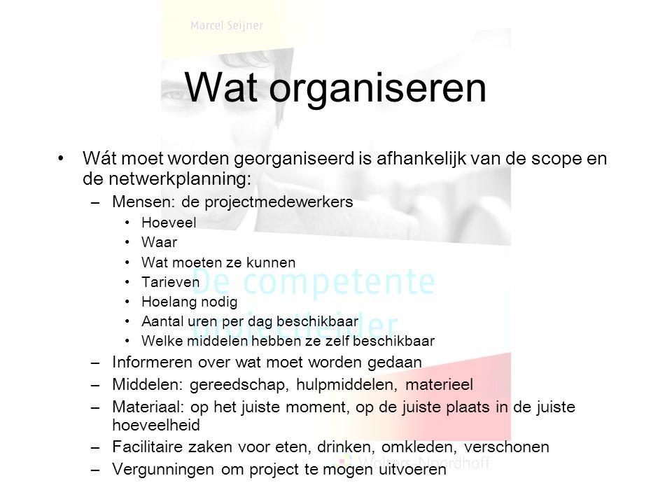 Wat organiseren Wát moet worden georganiseerd is afhankelijk van de scope en de netwerkplanning: Mensen: de projectmedewerkers.