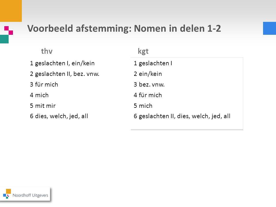 Voorbeeld afstemming: Nomen in delen 1-2