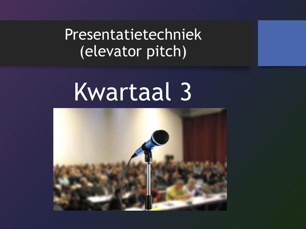 Presentatietechniek (elevator pitch)