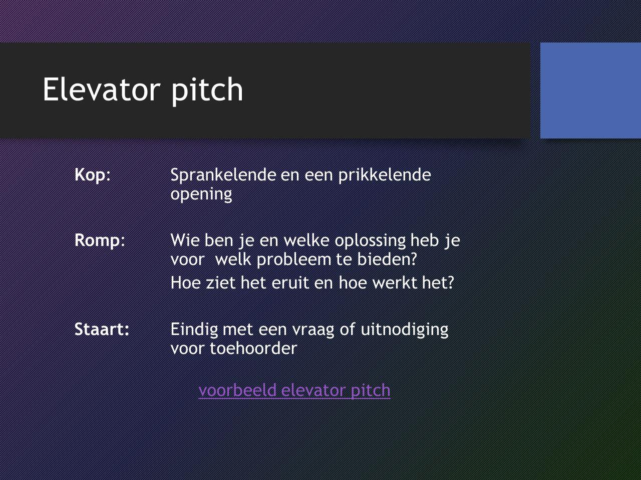 voorbeeld elevator pitch