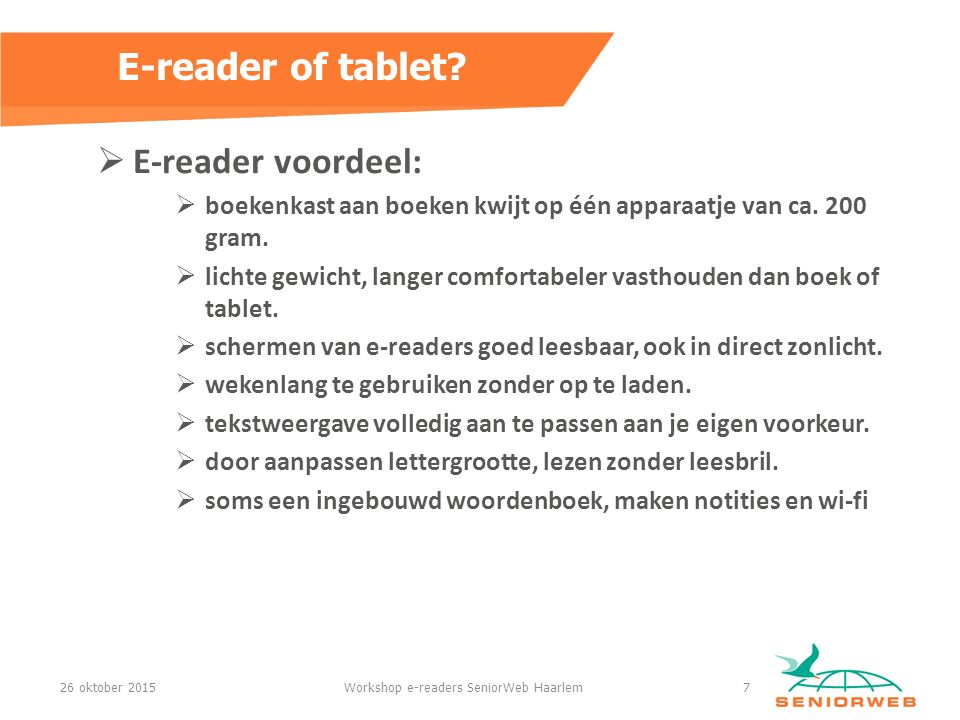 Workshop e-readers SeniorWeb Haarlem