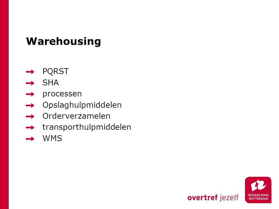 Warehousing PQRST SHA processen Opslaghulpmiddelen Orderverzamelen
