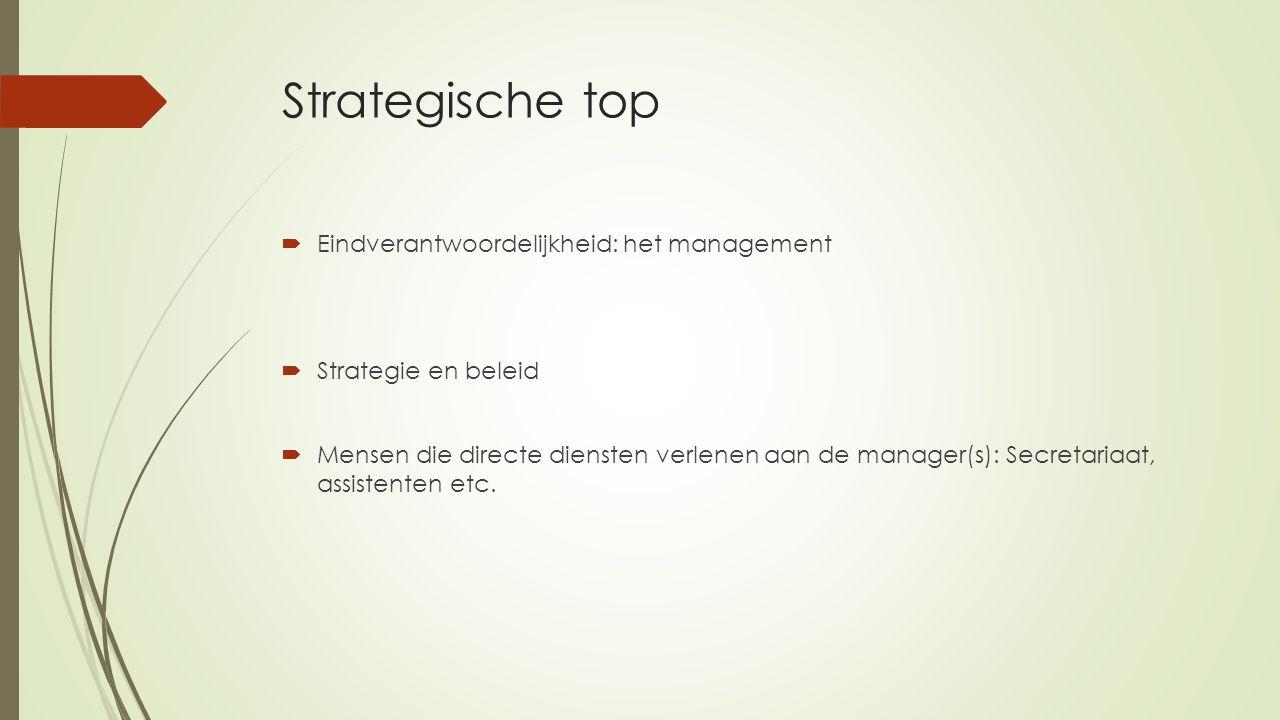 Strategische top Eindverantwoordelijkheid: het management