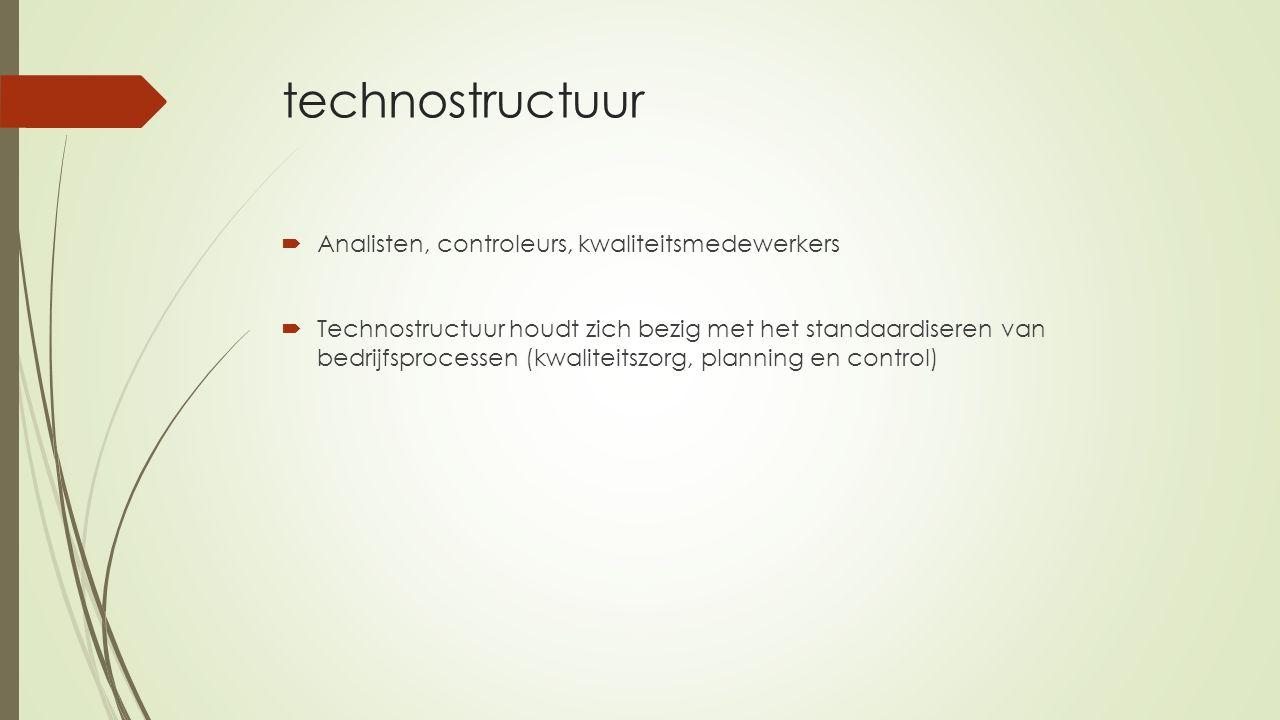 technostructuur Analisten, controleurs, kwaliteitsmedewerkers
