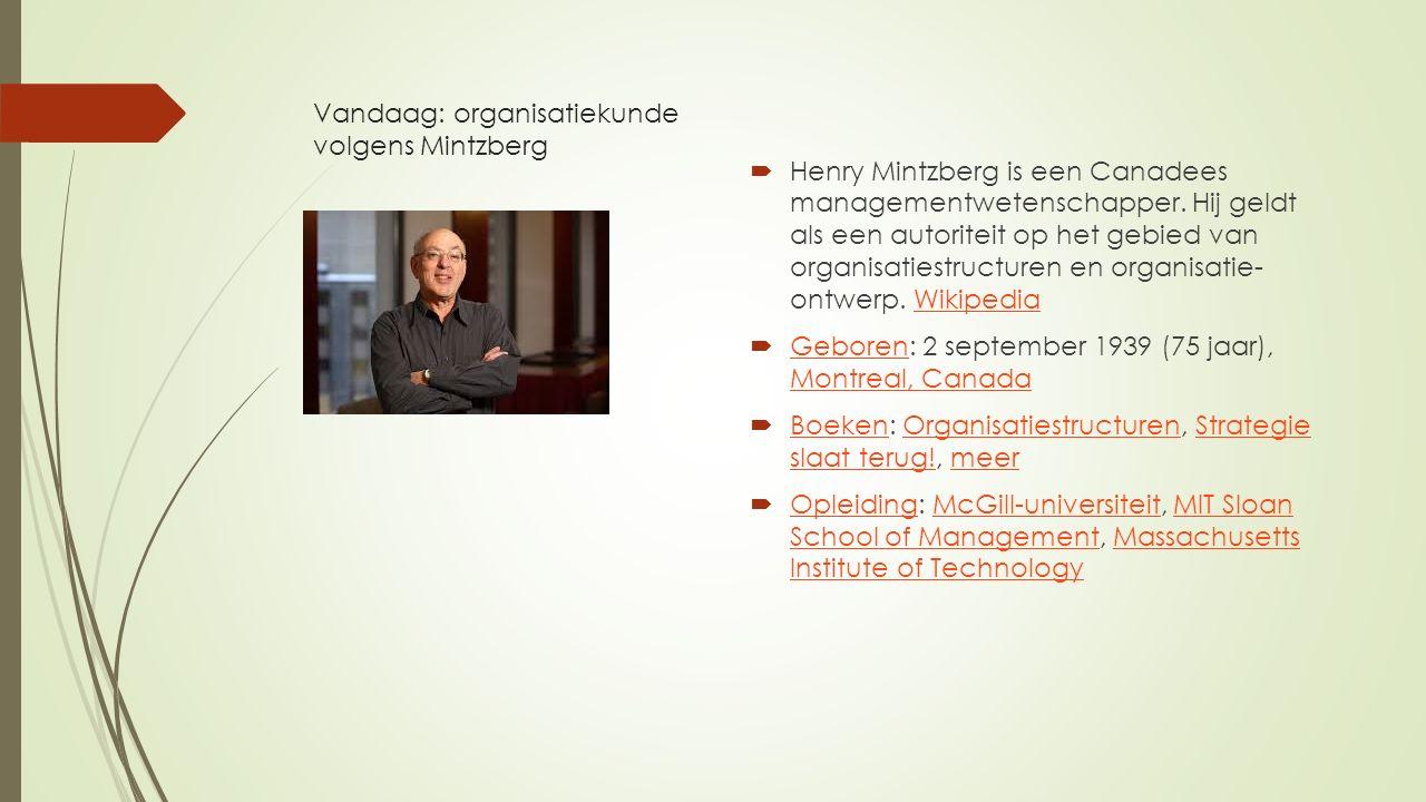 Vandaag: organisatiekunde volgens Mintzberg