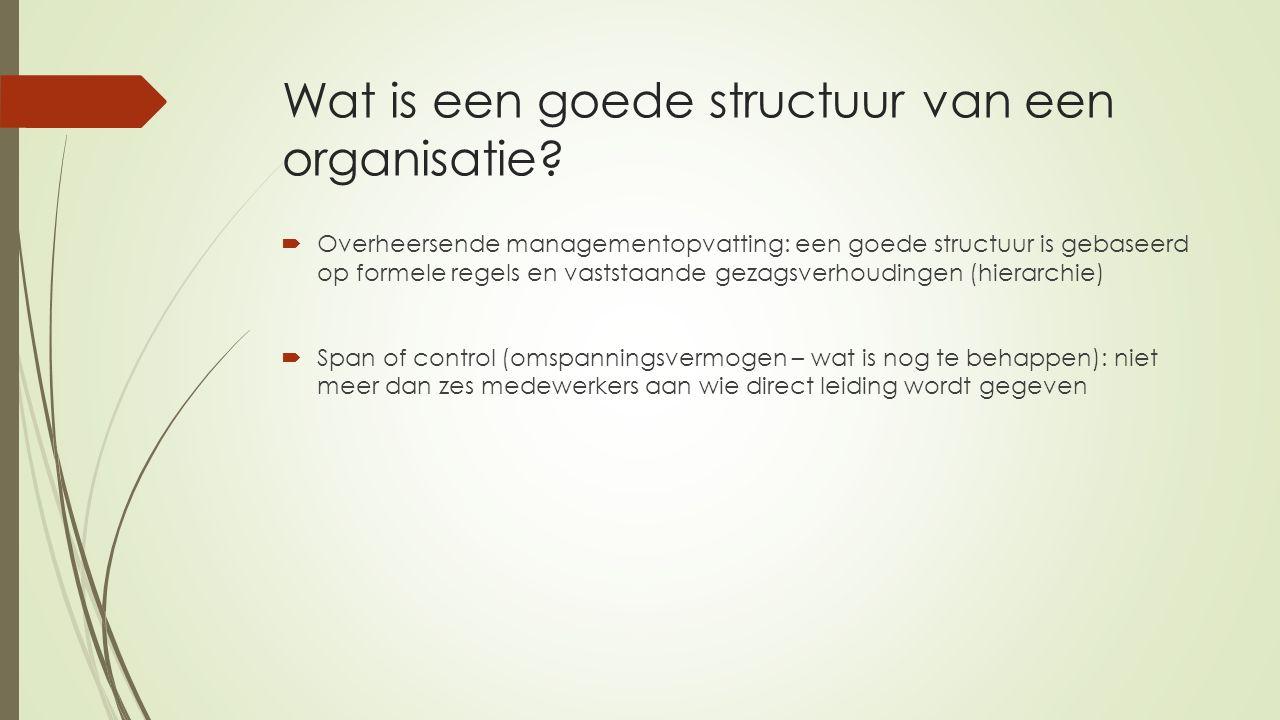 Wat is een goede structuur van een organisatie