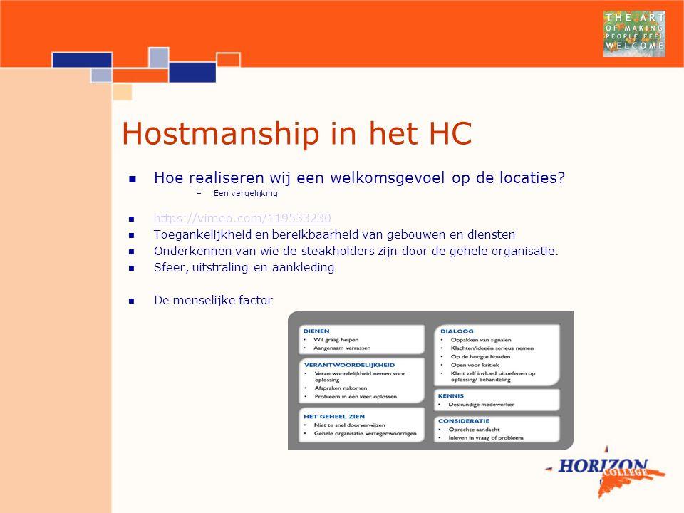 Hostmanship in het HC Hoe realiseren wij een welkomsgevoel op de locaties Een vergelijking. https://vimeo.com/119533230.