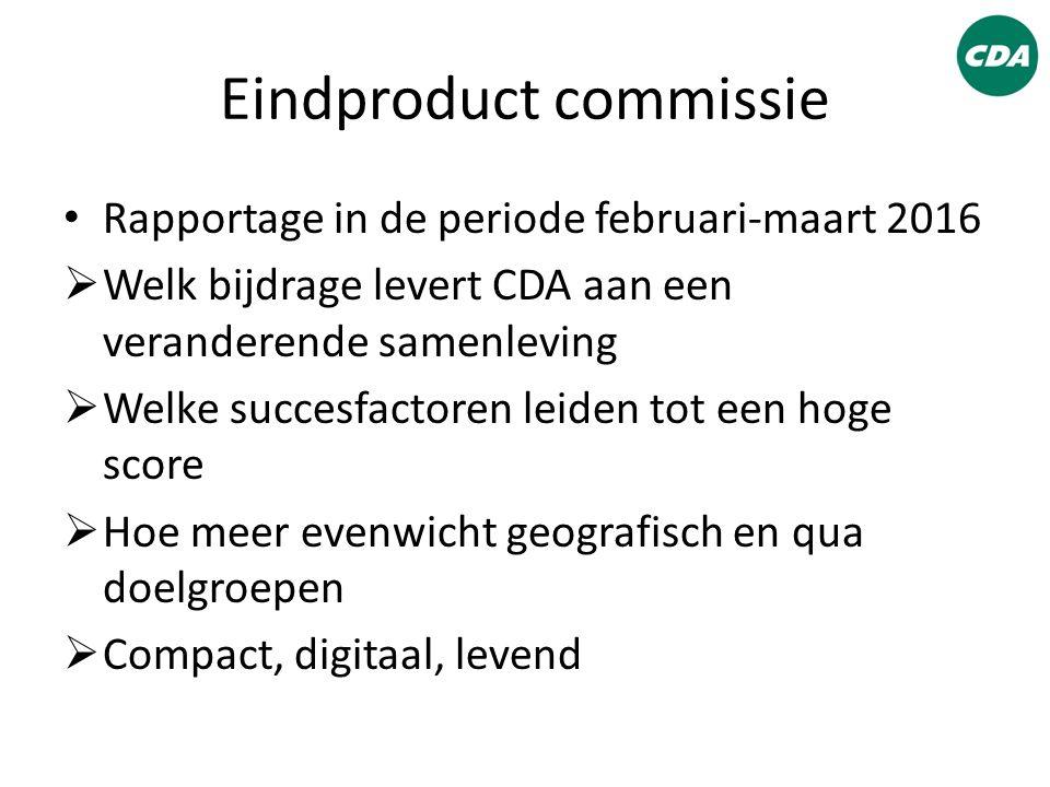Eindproduct commissie