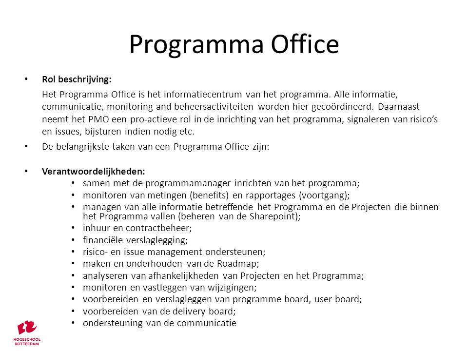 Programma Office Rol beschrijving: