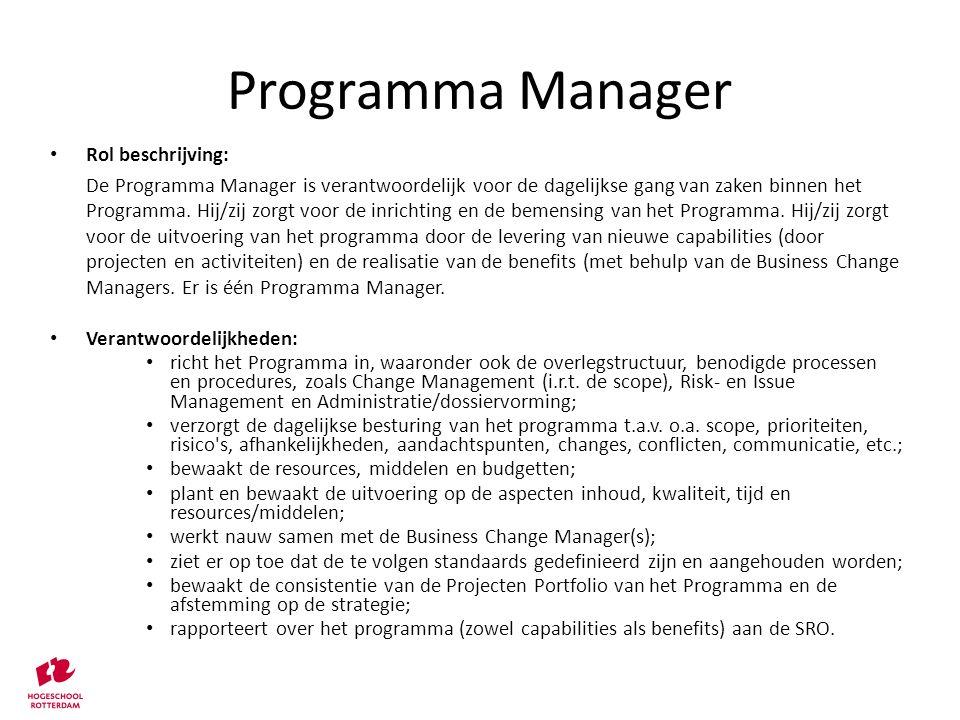 Programma Manager Rol beschrijving: