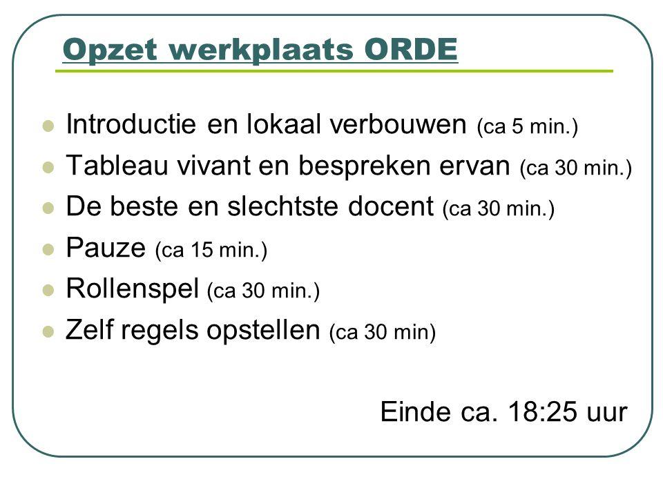 Opzet werkplaats ORDE Introductie en lokaal verbouwen (ca 5 min.)