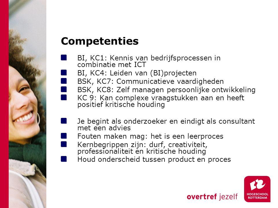 Competenties BI, KC1: Kennis van bedrijfsprocessen in combinatie met ICT. BI, KC4: Leiden van (BI)projecten.