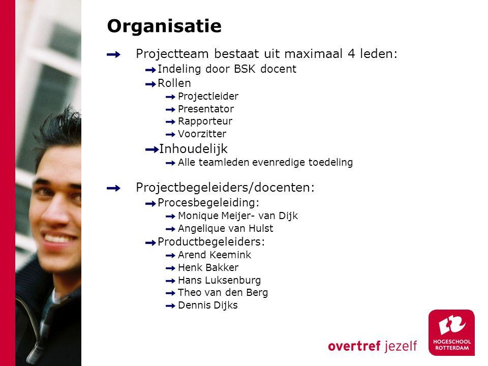Organisatie Projectteam bestaat uit maximaal 4 leden: Inhoudelijk