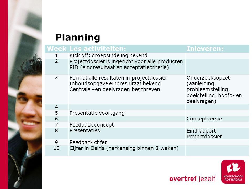 Planning Week Les activiteiten: Inleveren: 1