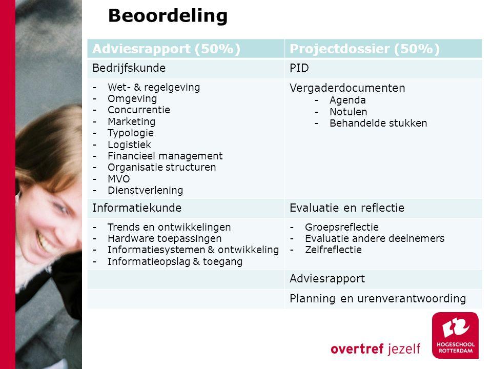 Beoordeling Adviesrapport (50%) Projectdossier (50%) Bedrijfskunde PID