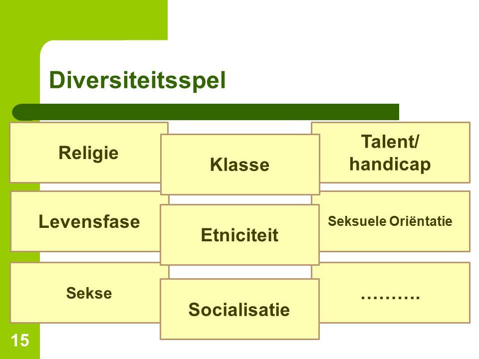 Diversiteitsspel Talent/ Religie handicap Klasse Levensfase Etniciteit