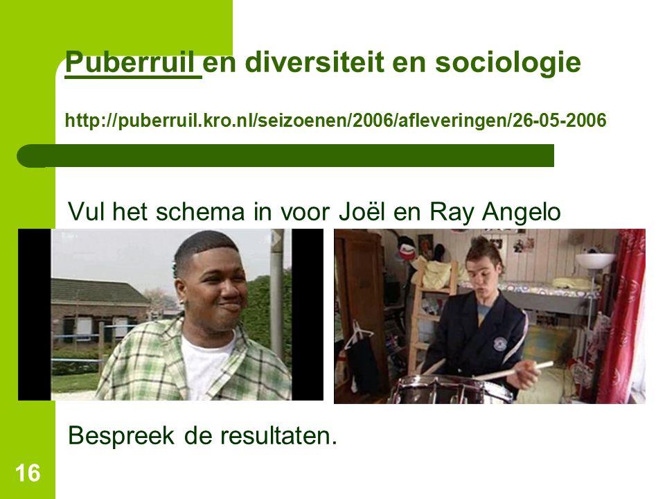 Puberruil en diversiteit en sociologie http://puberruil. kro