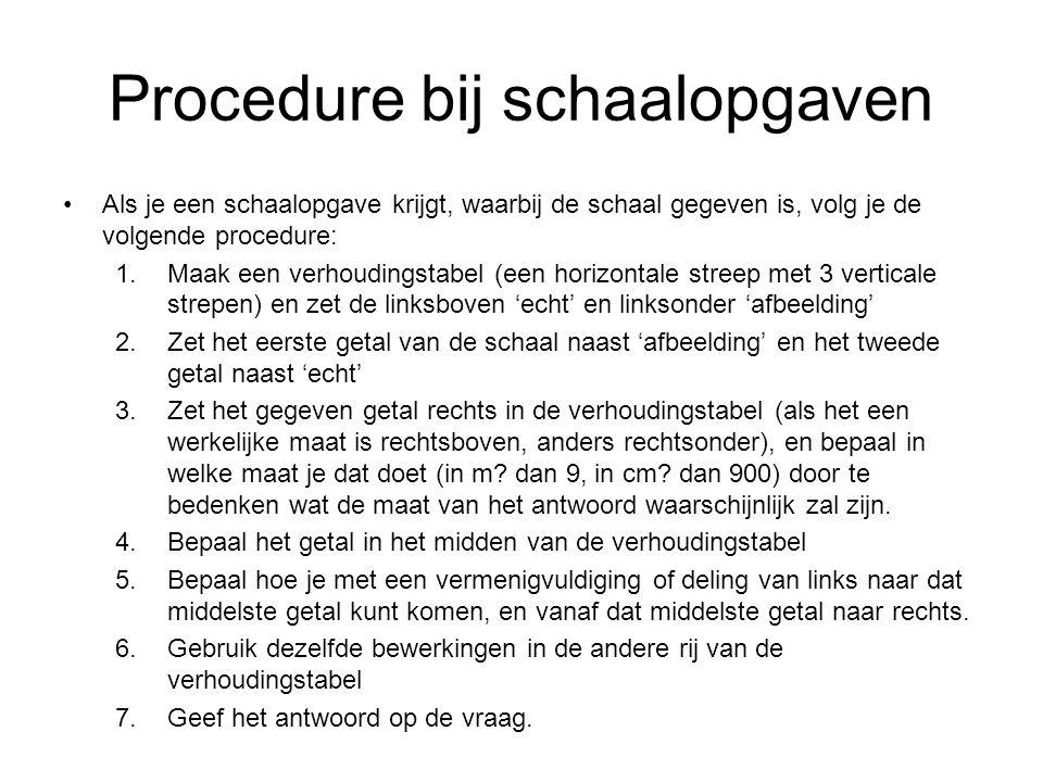 Procedure bij schaalopgaven