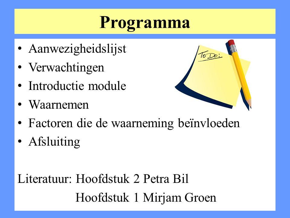 Programma Aanwezigheidslijst Verwachtingen Introductie module