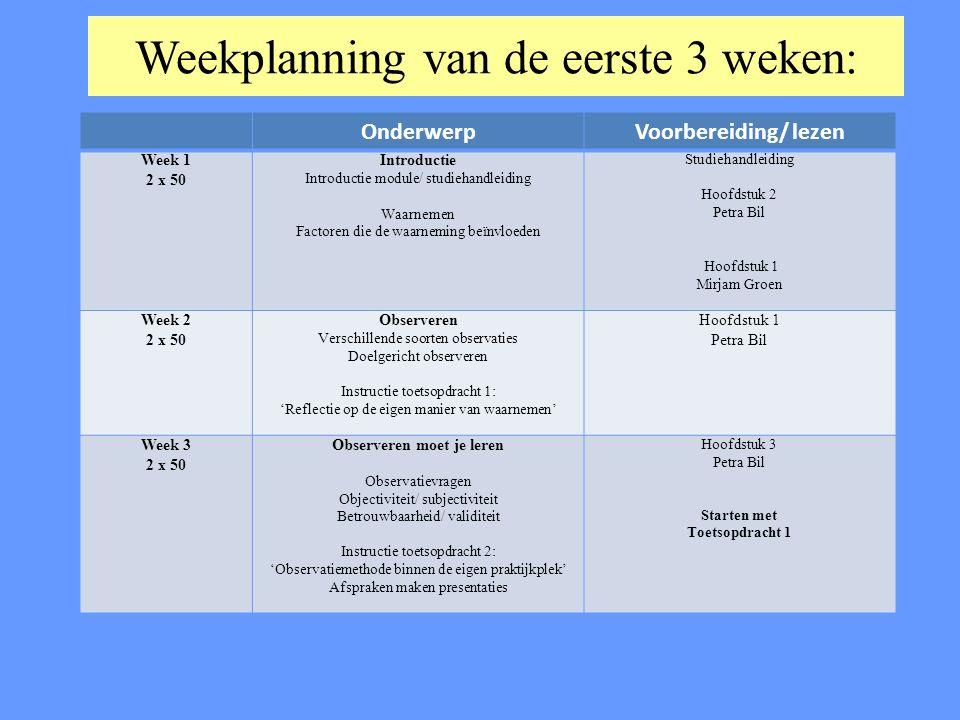 Weekplanning van de eerste 3 weken: