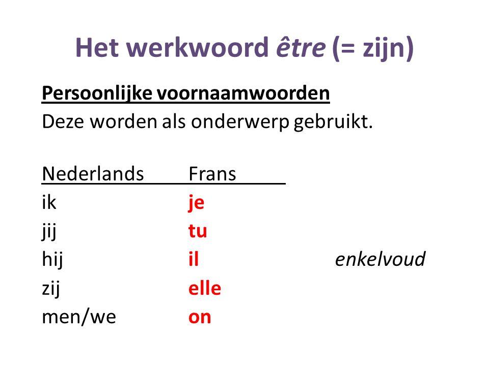 Het werkwoord être (= zijn)