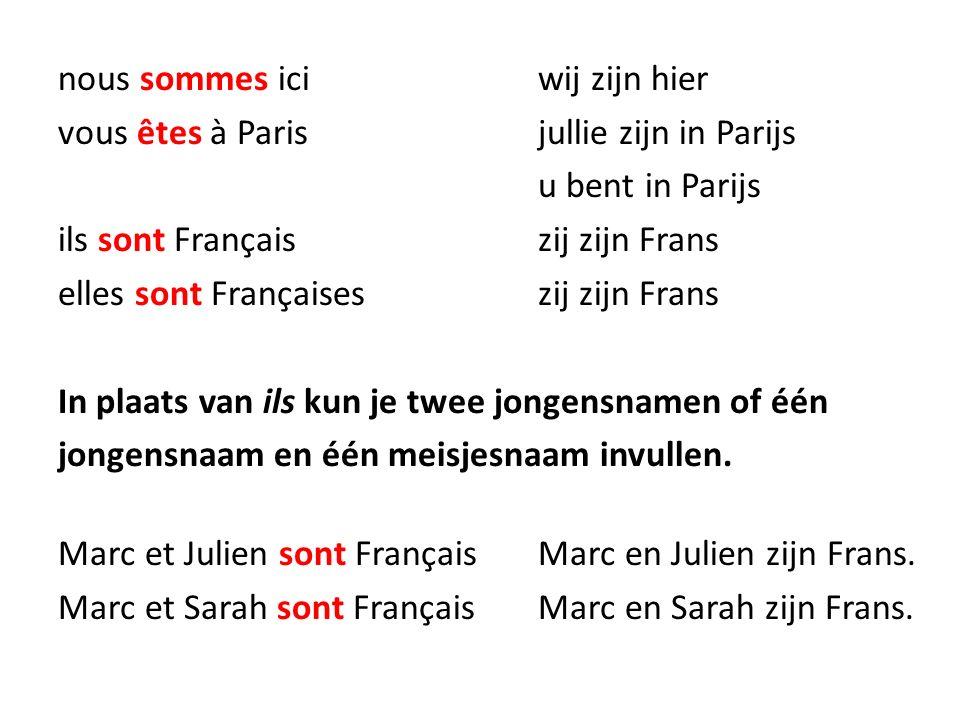 nous sommes ici wij zijn hier vous êtes à Paris jullie zijn in Parijs u bent in Parijs ils sont Français zij zijn Frans elles sont Françaises zij zijn Frans In plaats van ils kun je twee jongensnamen of één jongensnaam en één meisjesnaam invullen.
