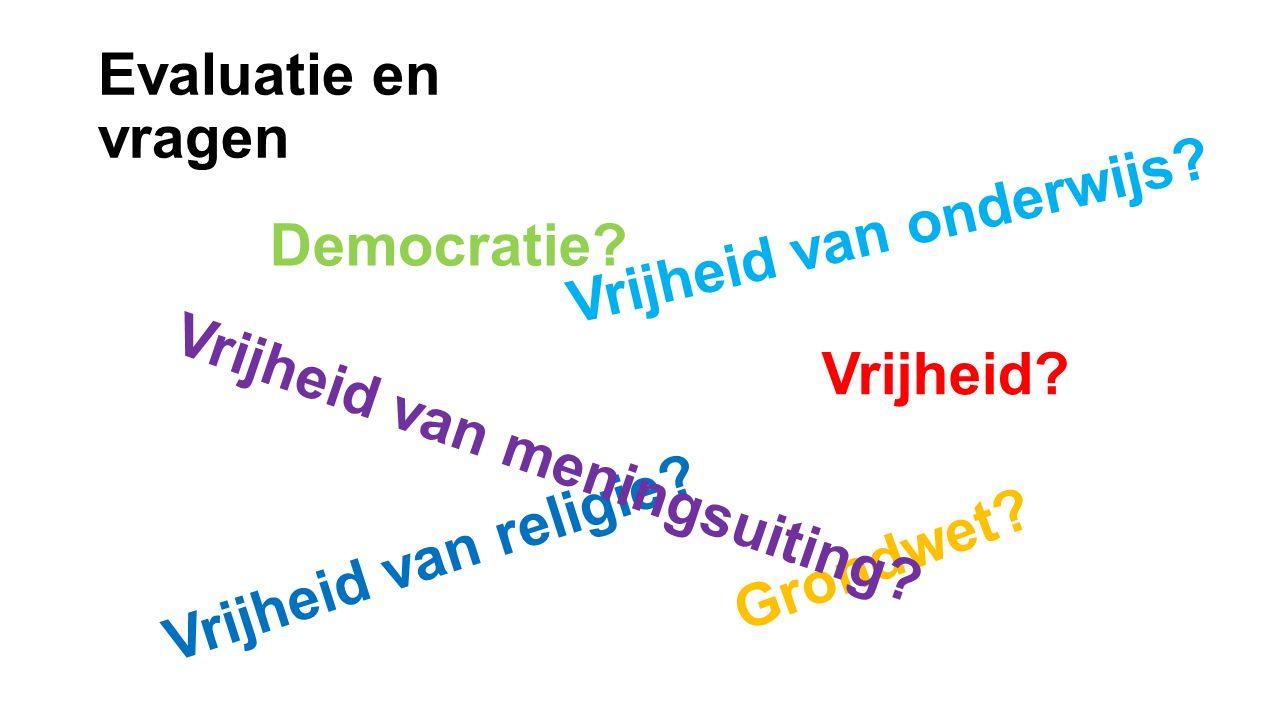 Evaluatie en vragen Vrijheid van onderwijs Democratie Vrijheid Vrijheid van religie Vrijheid van meningsuiting