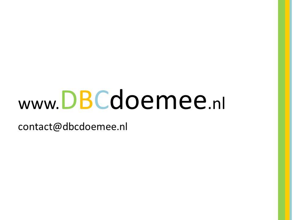 www.DBCdoemee.nl contact@dbcdoemee.nl