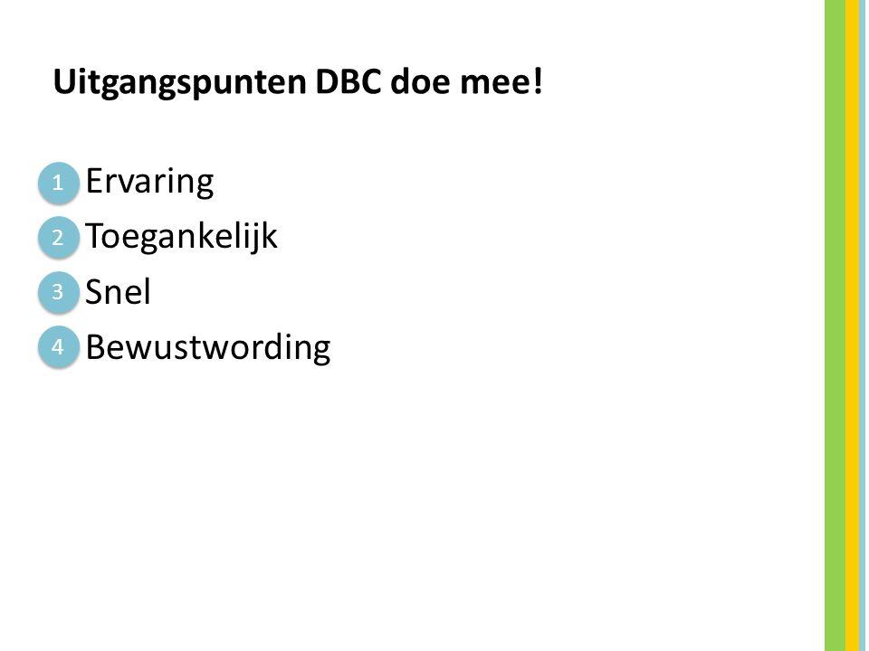 Uitgangspunten DBC doe mee!