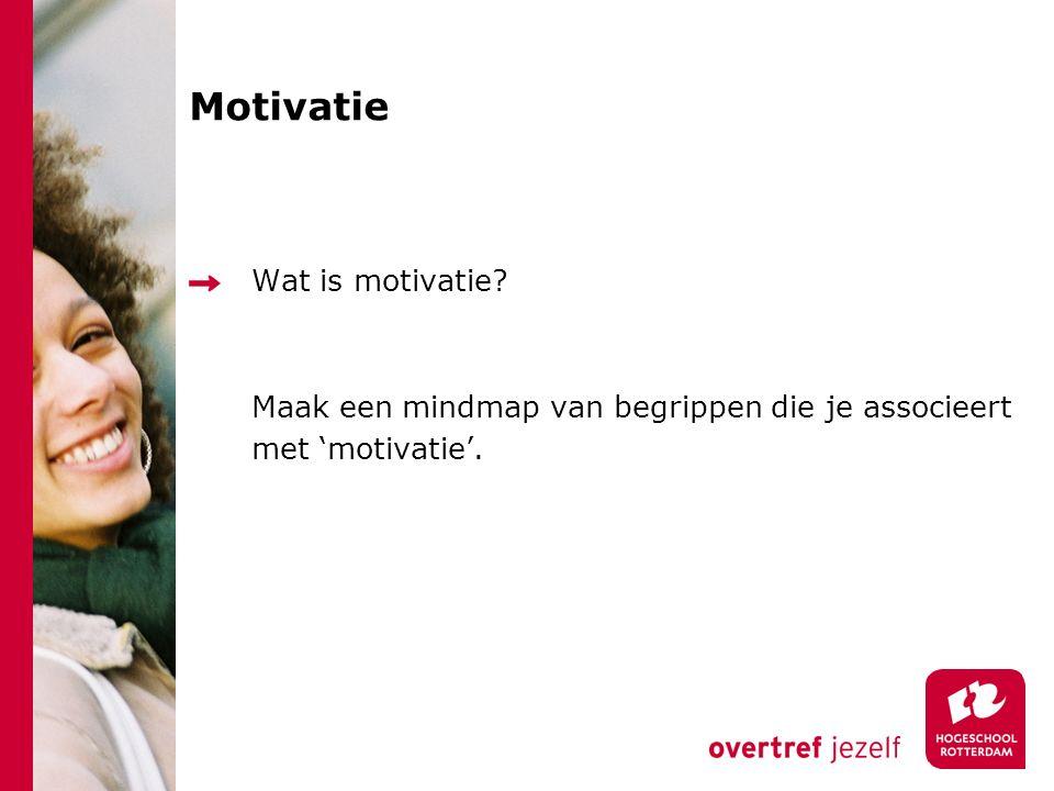 Motivatie Wat is motivatie Maak een mindmap van begrippen die je associeert met 'motivatie'. 5