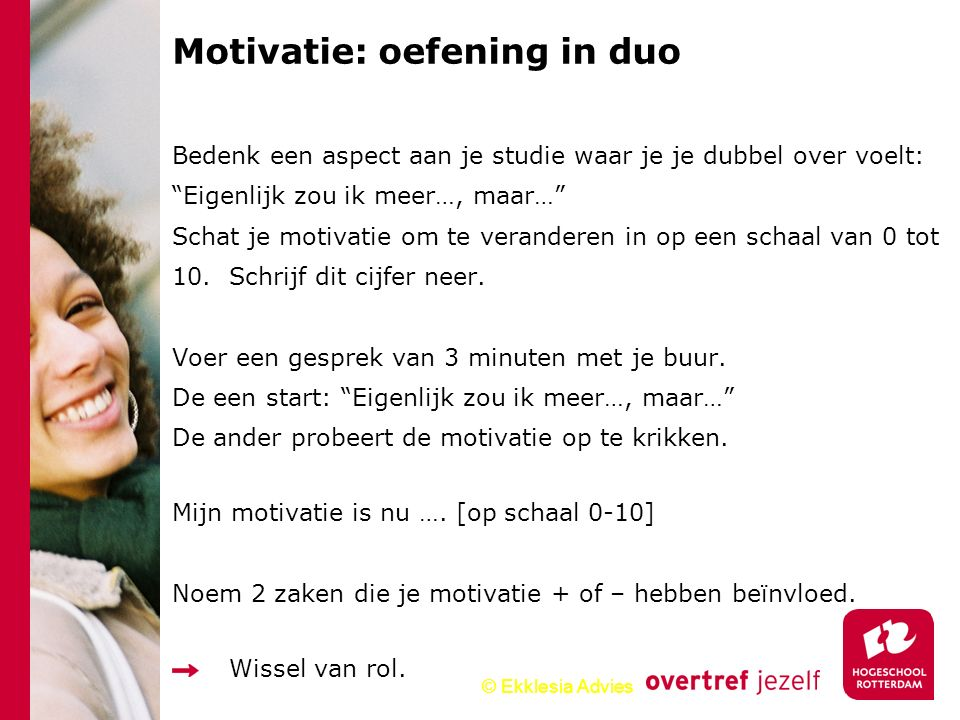 Motivatie: oefening in duo