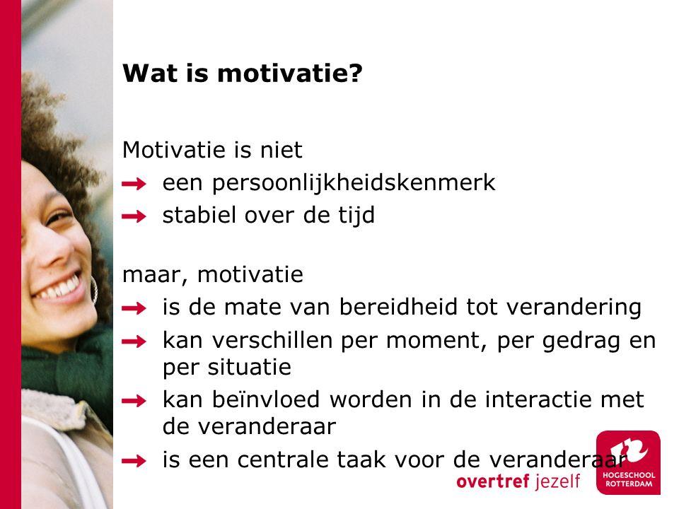 Wat is motivatie Motivatie is niet een persoonlijkheidskenmerk