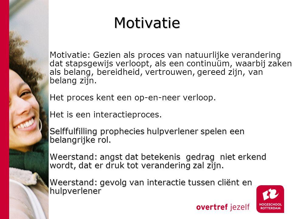 Motivatie Motivatie: Gezien als proces van natuurlijke verandering