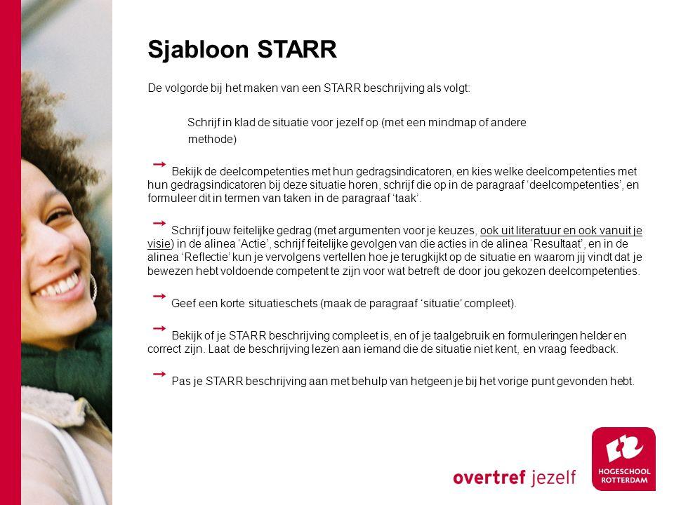 Sjabloon STARR De volgorde bij het maken van een STARR beschrijving als volgt: Schrijf in klad de situatie voor jezelf op (met een mindmap of andere.