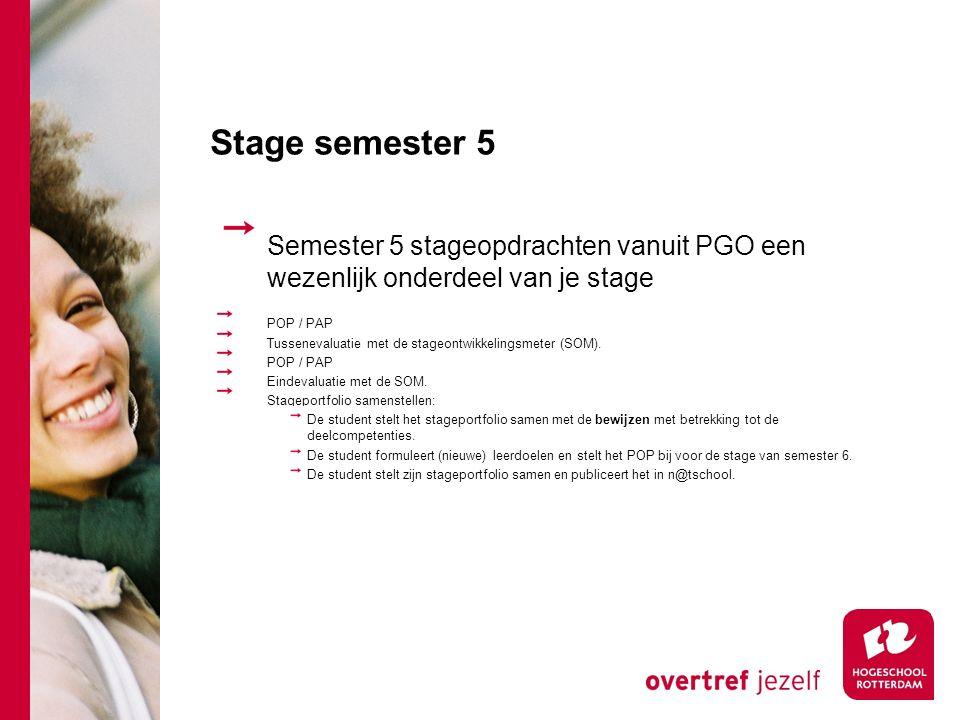 Stage semester 5 Semester 5 stageopdrachten vanuit PGO een wezenlijk onderdeel van je stage. POP / PAP.