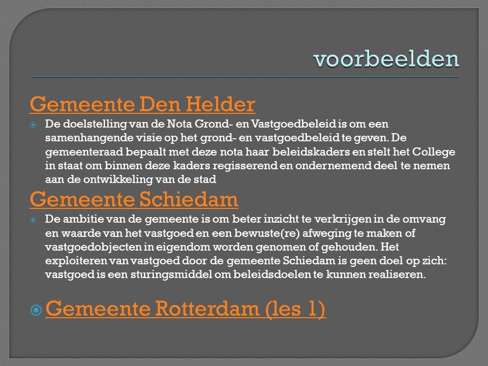 voorbeelden Gemeente Den Helder Gemeente Schiedam