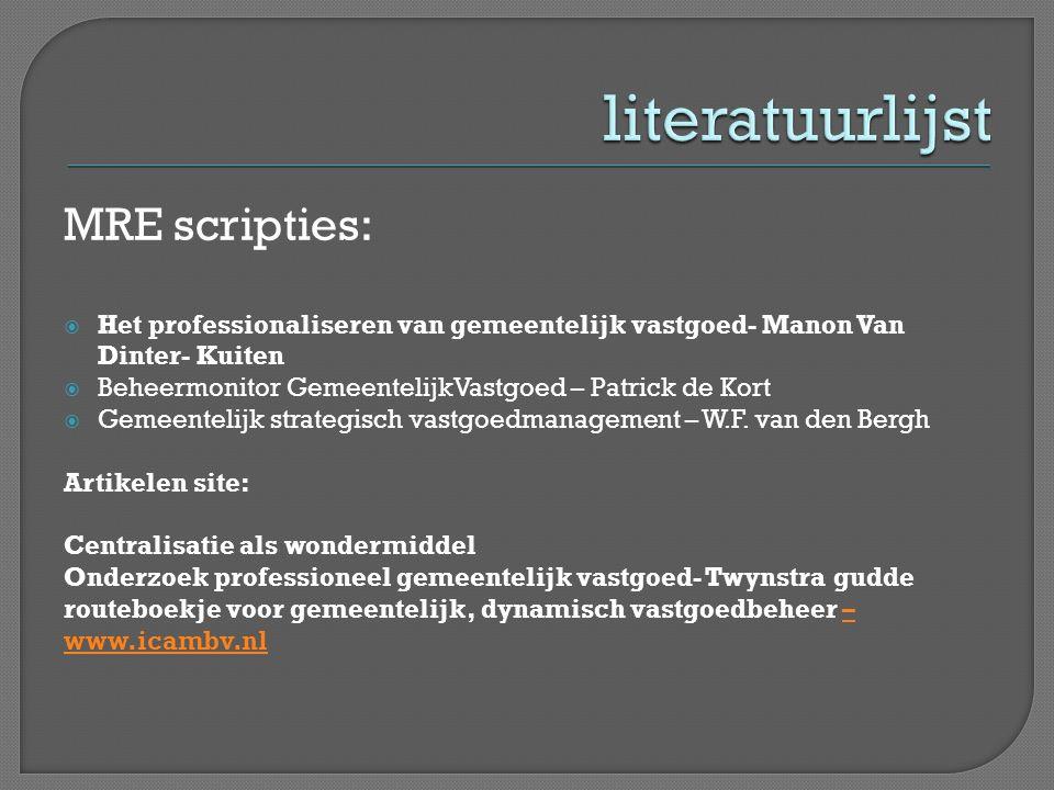 literatuurlijst MRE scripties:
