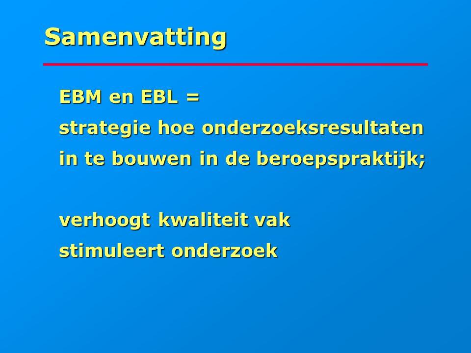 Samenvatting EBM en EBL = strategie hoe onderzoeksresultaten