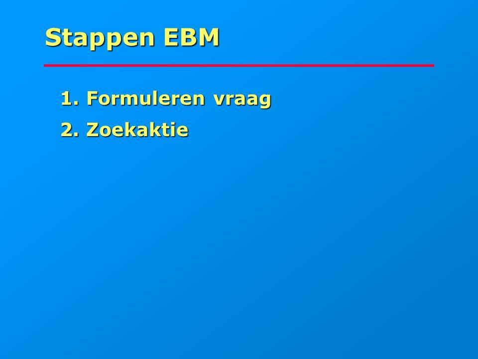 Stappen EBM 1. Formuleren vraag 2. Zoekaktie