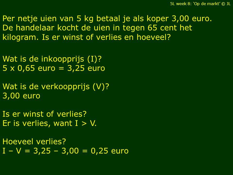 Per netje uien van 5 kg betaal je als koper 3,00 euro.