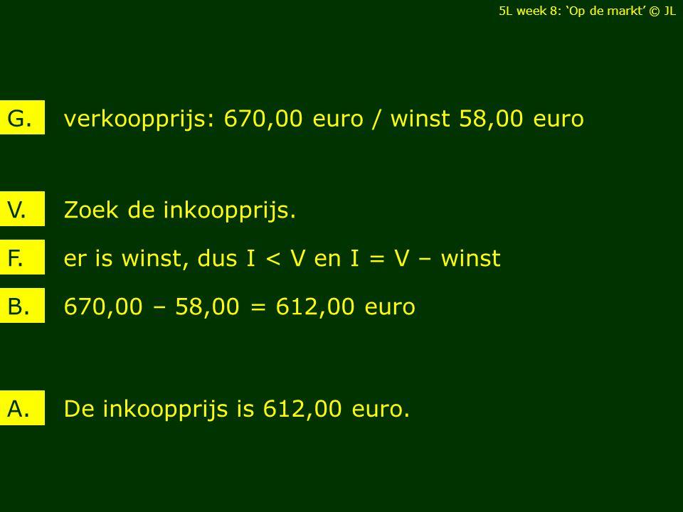 verkoopprijs: 670,00 euro / winst 58,00 euro G.